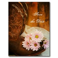 Pink Daisies and Boots Wedding Save the Date Post Cards