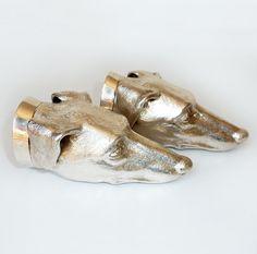 A Pair of Cast Silver Dog Head Stirrup Cups. by MaisonDogLondon