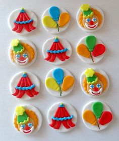 12 Fondant Edible Cupcake Toppers  Circus Theme by TopCakeDecors, $19.95