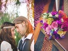 Bohemian Wedding Inspiration with a gorgeous colourful mixed flower bouquet. Love those flowers!!