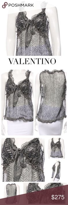 """😳 VALENTINO BLACK SILK SHEER SLEEVELESS TOP This Valentino sleeveless, semi-sheer top in grey and black print is a stunner and perfect for summer. Features scoop neck, abstract print throughout and ruffle trim for stunning accent at the bodice. Beautiful piece. Designer Color: Grey/Black. M US8, IT44 Approx Measurements: Bust 34.5"""", Waist 34"""", Length 23"""" Material : Feels like silk. Fab tag removed due to sheerness. Condition: Excellent. Valentino Tops Blouses"""