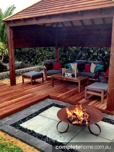 outdoor cabana and fire pit