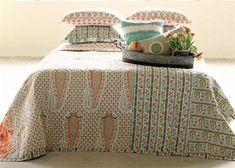 x Cotton Screen Printed Bed Quilt w/ Floral Pattern & Patchwork, Queen, Orange/Aqua Aqua Bedding, Quilt Bedding, Bedding Sets, Wholesale Home Decor, Vintage Farmhouse Decor, Creative Co Op, Bed Styling, Shabby Chic Homes, Bed Throws