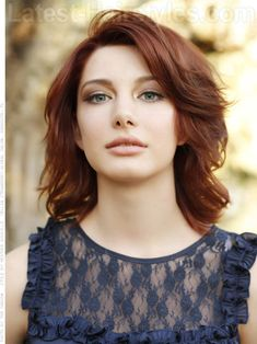 This gorgeous reddish brown color is the perfect shade to try out this summer. Rich, bold, and full of swirling dimension, this haircut falls right at the shoulders and is given a fantastic full shape with short to medium layers.