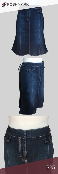 """NWT NY & Company Dark Blue Denim Jean Skirt 10 NWT NY&Company dark blue jean skirt with slight flair at the bottom. This is a lovely thick, dark denim, never worn. Comes to the knee. Size 10.  Measurements:  Waist: 18""""  Length: 24""""  Hips: 20l New York & Company Skirts"""