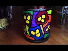 Candle holder Bottle Painting, Painting Videos, Candle Holders, Paintings, Candles, Mugs, Glass, Projects, Candlesticks