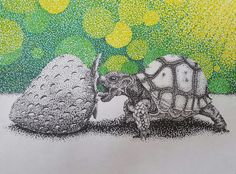 Neo-impressionism baby tortoise  picture out of sharpies