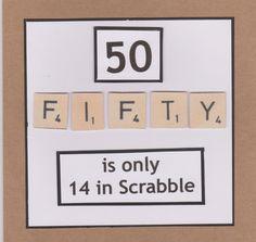 Lidy's Place: 50 jaar kaart man en vrouw - 50th birthday card man and woman scrabble tiles