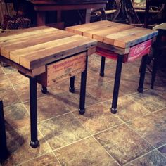 End Tables.  The newest creation from Gergen Studio...made from barn wood, a couple crates and reclaimed pipe...
