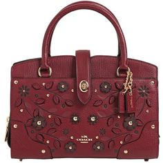 Coach Ny Women Mercer Embellished Leather Bag (8.206.595 IDR) ❤ liked on Polyvore featuring bags, handbags, shoulder bags, bordeaux, сумки, red purse, zip shoulder bag, genuine leather purse, leather shoulder handbags and genuine leather handbags
