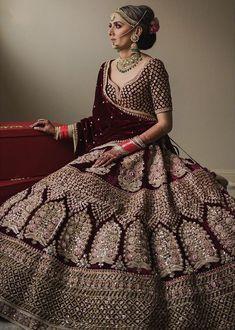 Beautiful bride in Maroon gold embroidered Sabyasachi bridal lehenga. Indian Lehenga, Sabyasachi Lehenga Bridal, Indian Wedding Lehenga, Indian Wedding Wear, Anarkali, Sabhyasachi Lehenga, Lehenga Blouse, Indian Bride Dresses, Indian Bridal Outfits