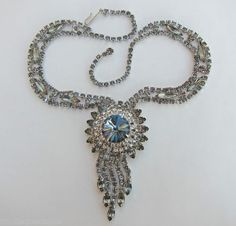 Juliana D E Huge Purple Blue Rivoli Rhinestone Centerpiece Necklace w Dangles | eBay