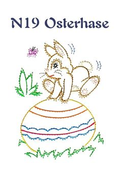 Osterhase                                                                                                                                                                                 Mehr Embroidery Cards, Bead Embroidery Patterns, Crochet Doily Patterns, Beaded Embroidery, Doilies Crochet, Card Patterns, Stitch Patterns, Easter Coloring Pages, Sewing Cards