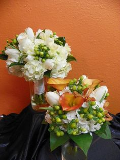Wedding Bouquets, Bride in white and a spot of color the Maid of Honor