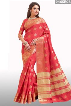 Red art silk saree embellished with zari woven work. Available with red art silk blouse.Price USD 67