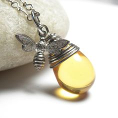 Honey Bee Jewelry Silver Wire Wrapped Necklace by LunaJewelry, $29.00