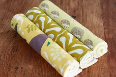 EcoFriendly Burp Cloth  Set of 3   Outfoxed in by antsyantelope, $21.00