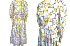 Cotton White Yellow Purple Prairie Dress, Edwardian Floral Check Print Puff Sleeves Folk Costume Boho Festival Garden Party Maxi Dress by HolyCatsVintage on Etsy Festival Garden Party, Festival Wedding, Boho Festival, Purple Fabric, Pleated Maxi, Summer Maxi, Check Printing, Puff Sleeves, Folk Costume