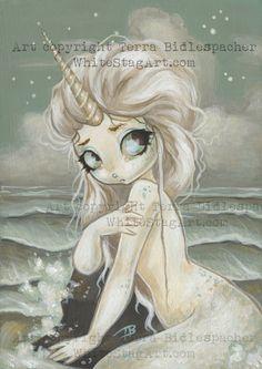 Unicorn mermaid fairy fantasy lowbrow gothic art by WhiteStag