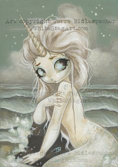 Unicorn mermaid fairy fantasy lowbrow gothic art by WhiteStag