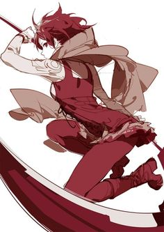 ask (askzy) boots cape red eyes red hair red legwear ruby rose rwby scarf scythe short hair sideways glance sketch solo - Image View - Art Et Illustration, Illustrations, Character Illustration, Rwby Fanart, Female Characters, Anime Characters, Manga Anime, Anime Art, Rwby Anime