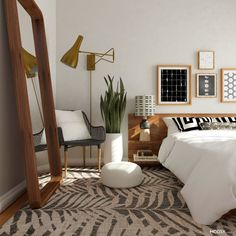 In this mid-century modern bedroom, geometry is key. The hard lines mix with circles, curves, and swirls for a geometric experience that's pleasing to the eye. Mid Century Modern Bedroom, Mid Century Modern Mirror, Mid Century Rustic, Mid Century Decor, Modern Bedroom Design, Modern Bedrooms, Eclectic Bedroom Decor, Bedroom Designs, Bedroom Design Minimalist