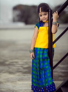 Purchase Kids readymade skirt and blouse designs from online in coimbatore. Anya provides Traditional Pattu pavadai dresses in Coimbatore Baby Frock Pattern, Frock Patterns, Girl Dress Patterns, Baby Patterns, Kids Indian Wear, Kids Ethnic Wear, Kids Dress Wear, Baby Dress, Kids Wear