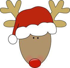 Reindeer wearing a santa hat.