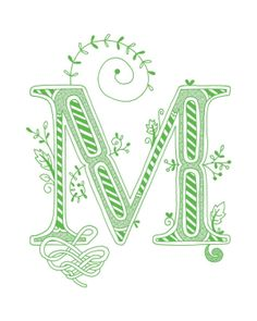 Hand drawn monogrammed print, 8x10, the Letter M, in the color green. $15.00, via Etsy.
