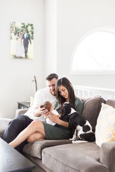 An at home newborn lifestyle session. ~ Home - Houses - Modern - Dog - Baby - Couple - Family - Candid - Natural Lighting - Film - Love - Window Lighting - Portraits - Parents