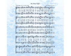 OH HOLY NIGHT --- 8 X 10 Antique Hymn on Photo Art Print