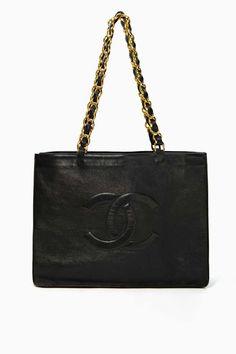 dream bag <3 Vintage Chanel Black Leather Tote