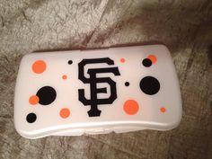SF San Francisco Giants Hard Sided Travel Wipe Case w/Orange and Black Polka Dots Personalized by HundredAcreTreasures on Etsy https://www.etsy.com/listing/192254647/sf-san-francisco-giants-hard-sided