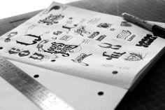 'locos por juana' logo sketches by diego guevara