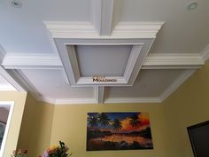 Dining Room Ceiling Box With Pendant Light Coffered And Waffle - Cornice crown moulding toronto wainscoting coffered ceiling