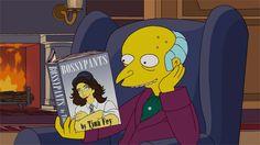 C. Montgomery Burns ofThe Simpsons readingBossypants by Tina Fey