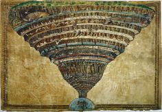 Sandro Botticelli - Mappa dell'Inferno,1480-1495. Botticelli's ilustration of the layers of Hell as described in Dante's Inferno, part of the Divine Comedy. One of my favorite paintings by one of my favorite artists of all time.