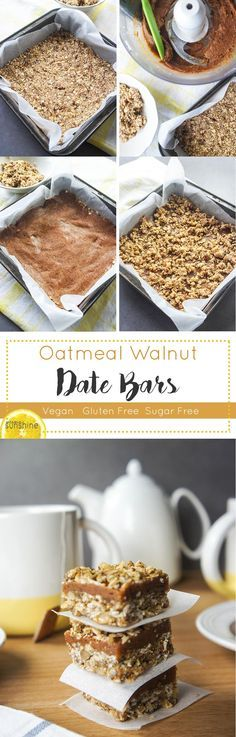 Oatmeal Walnut Date Bars / This delicious, gluten free and sugar free treat is… can add dash of vanilla and some spice