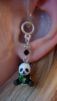 Panda with Bamboo Hearing Aid Charms OR by HayleighsCharms on Etsy