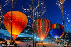 Winter Balloon Glow in Gondola Square at Steamboat Resort in Steamboat Springs, Colorado