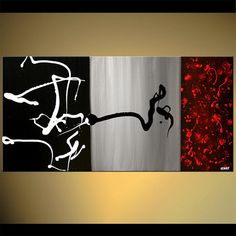 """Original Abstract in Black Gray Red Contemporary Acrylic Painting Modern Texture on Canvas by Osnat - MADE-TO-ORDER - 48""""x24"""""""