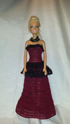 Crochet Barbie Clothes, Barbie Dress, Fashion Doll Evening Gown, Barbie Doll Outfit by GrandmasGalleria on Etsy