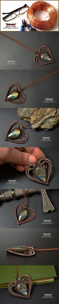 Wire wrap Pendant Heart by helga