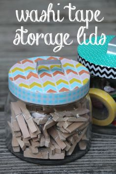 Washi Tape on jar lids... what a fun and easy way to make boring storage come to life! #diy #washitape