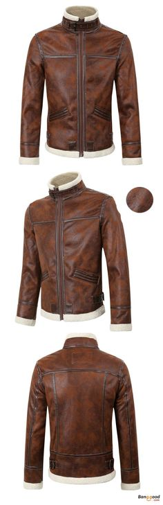 Mens Thick Fleece Casual Stand Collar Brown Motorcycle Jacket Fashion PU Leather Biker Coat. Thick Warm PU Leather Jacket, Fashion Stitching Design, Stand Collar to keep you warm! Have a look!