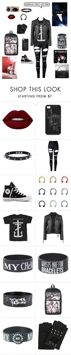 """""""MCR/ Frank Iero"""" by chemicalfallout249 ❤ liked on Polyvore featuring Lime Crime, Trend Cool, WithChic, Converse, Paul Frank, Boohoo, Hot Topic and Karl Lagerfeld"""