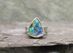 Australian Boulder Opal, 14k Gold & Sterling Silver Ring by GlobalPathways on Etsy https://www.etsy.com/listing/252686897/australian-boulder-opal-14k-gold