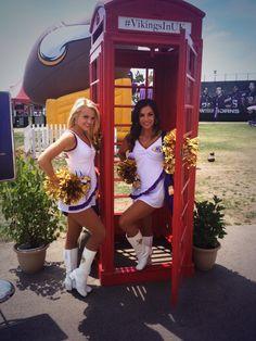 @Hayley Skelton Vikings Cheerleaders in the phone booth at training camp | #VikingsInUK