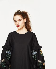 Image 5 of DRESS WITH EMBROIDERED SLEEVES from Zara