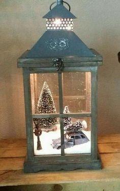 Adorable winter scene inside a lantern. Toy car with dollhouse trees & Christmas lightpole!